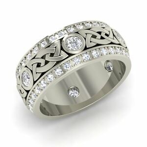 0e581ccac6ed5 Details about Certified 1.18 Cts Natural Diamond 14k White Gold Celtic  Men's Fathers Day Ring
