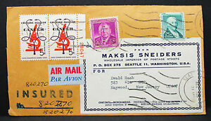US-Airmail-Adv-Cover-Sneiders-Cancer-Stamp-Pair-Pair-USA-Lupo-Letter-H-7415