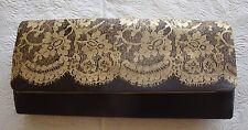 Ultimate Clutch Purse Evening Bag Black Satin W Gold Glitter Lace Print