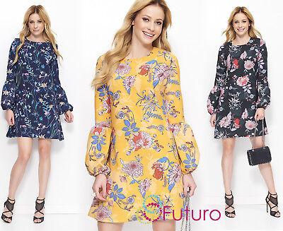 Woman Elegant Mini Dress Puffed Long Sleeves Trendy Flower Print Size 6-14 Fa605