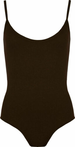 Women/'s Ladies Cami Strappy Bodysuit Leotard Camisole Vest Top 8-22