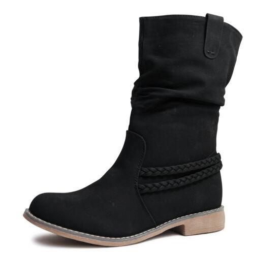 Damen Stiefel Stiefeletten Boots Schlupfstiefel gefüttert neu ST87