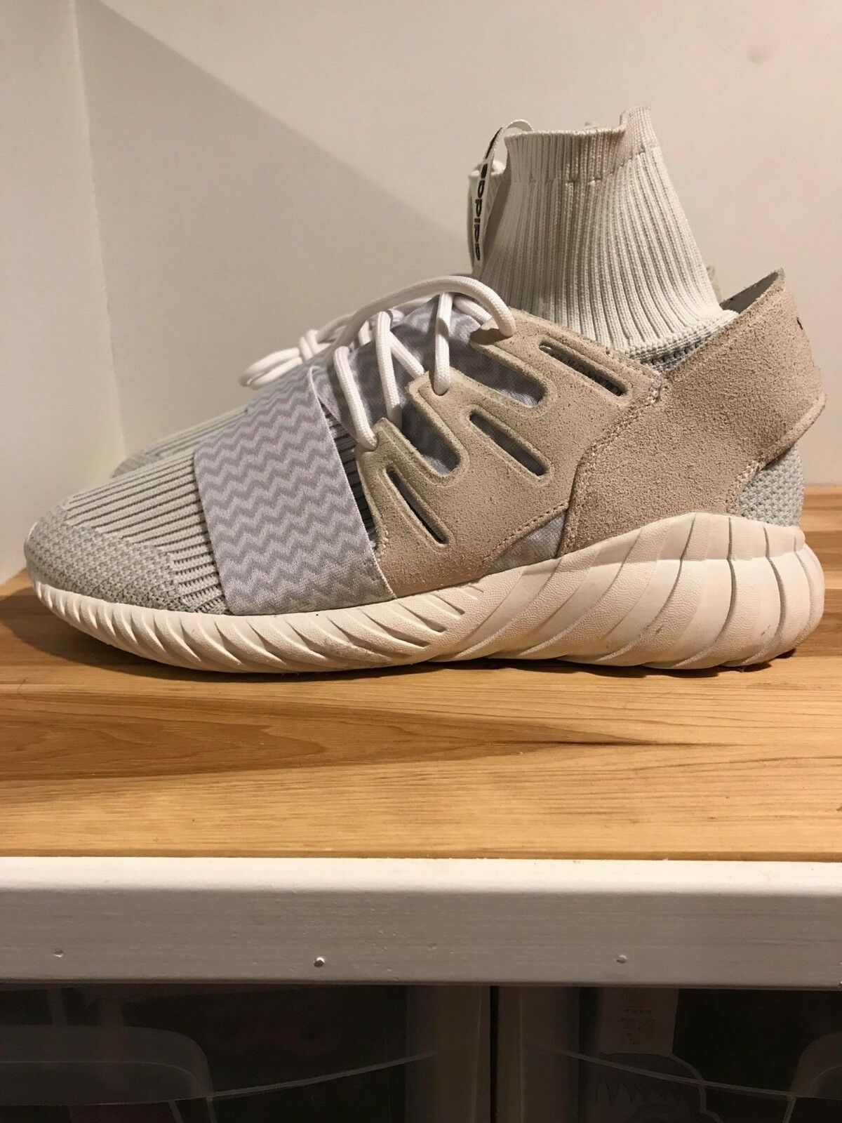 Adidas Originals Tubular Doom Primeknit Sneakers. Beige White. Men's Size 8.5.
