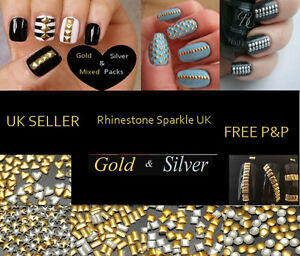 METALLIC-NAIL-ART-3D-STUDS-GEM-RHINESTONES-SQUARES-ROUND-STARS-CIRCLE-RECTANGLE
