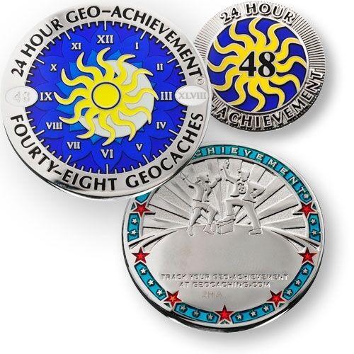 24 48 72 o 100 trova in 24 Ore Geocaching Risultato Geocoin e Pin Set