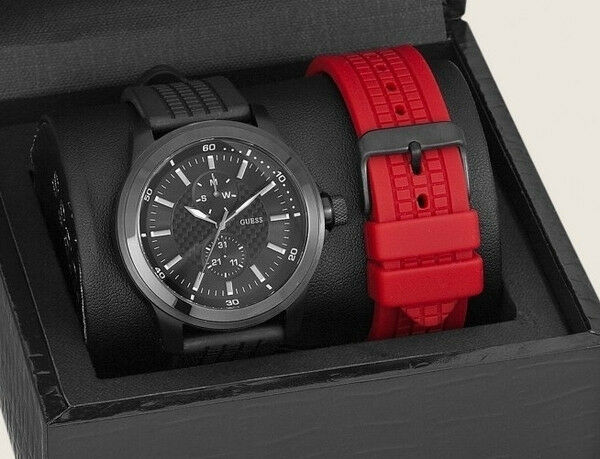 free shipping lace up in release info on NEW GUESS MEN WATCH RED & BLACK RUBBER SILICONE STRAP GIFT BOX SET DATE  U10660G1