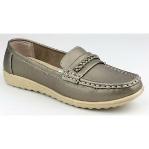 Amblers THAMES Womens Ladies Slip On Classic Comfy Casual Loafers Pewter Silver