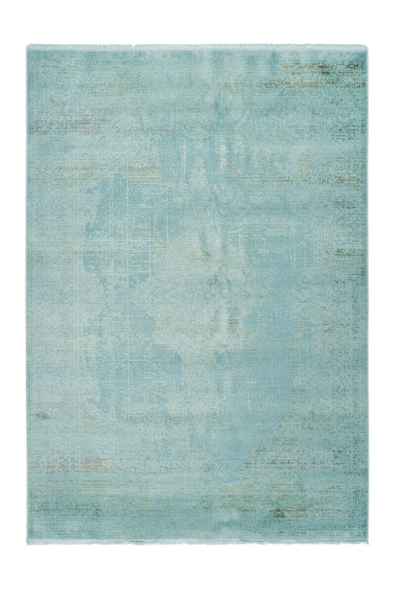 Moderne Vintage Tapis Aspect Use ornement design salon bleu turquoise