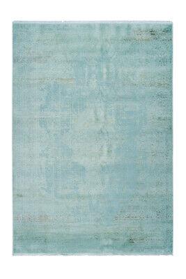 Vintage Schnörkel Teppich Ornamente Design Modern Beige Türkis Blau 200x290cm