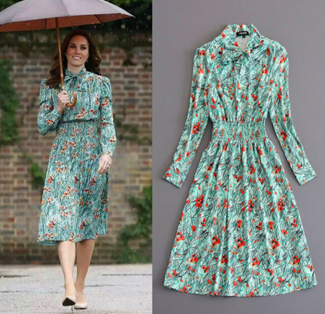 Hot Lady Vogue Long Dress New Floral Print A line Long Sleeve Vintage Dress 2018