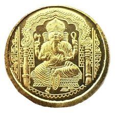 Ganesha Om Ganesh Yantra Coin Hindu Gold Shri Shree Yantram Luck Temple Coin