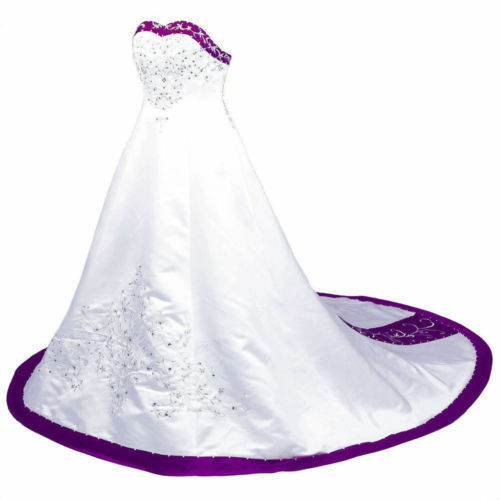 New White And Purple Wedding Dress Satin Embroidery Bridal Gown Custom Size 2-26