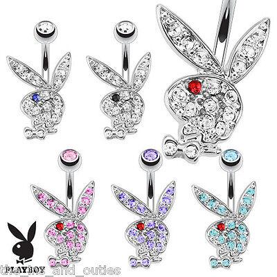 Playboy Bunny Belly Ring Pierced Navel Paved CZ Gem