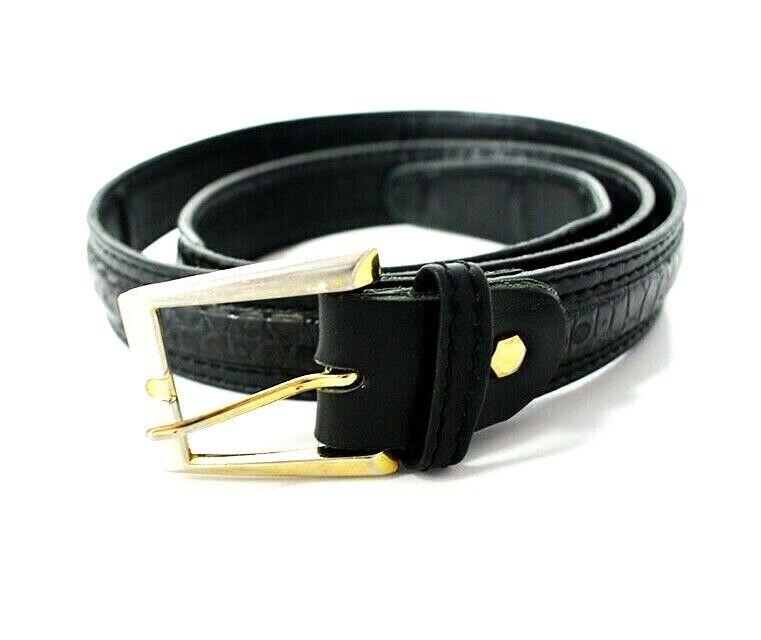 Australischer Vintage Herren Ledergürtel Schwarz Größe 36