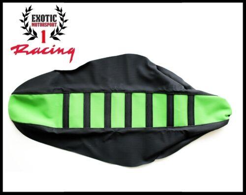 Ribbed Gripper Seat Cover Black//Green Kawasaki KXF 250 2009-12 KXF450 2009-11