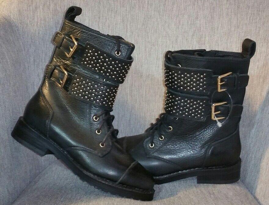 Rebecca Minkoff Black leather double strap studded stud zipper calf boots 275