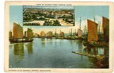 Dairen Manchuria China -JUNK HARBOR & VIEW FROM YAMATO HOTEL- Postcard Dalian