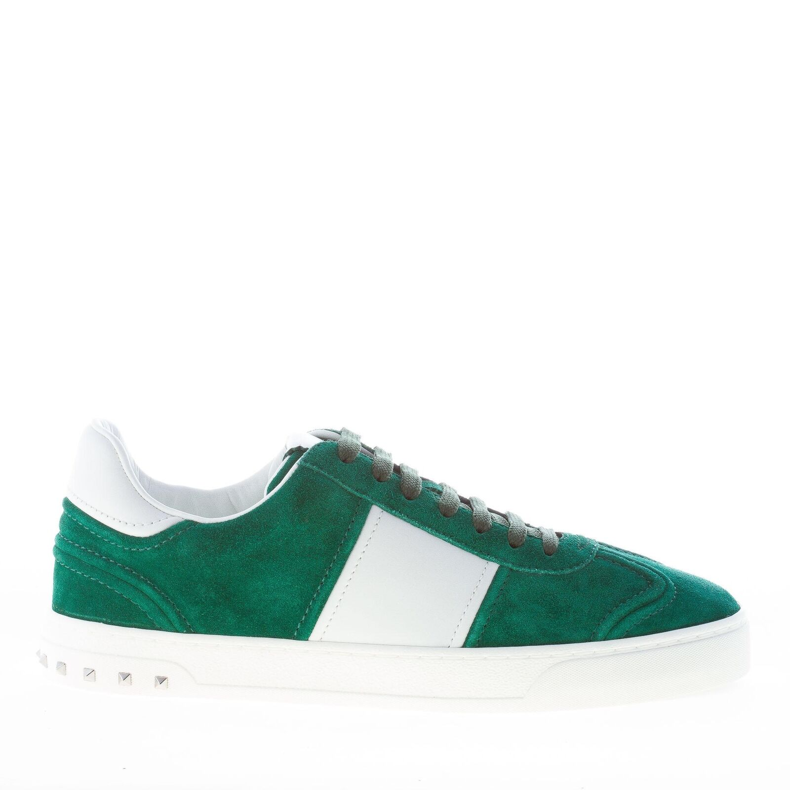 VALENTINO men shoes Green suede Flycrew sneaker white band studs NY2S0A08LAR23N