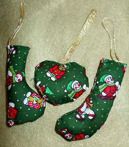 New-Hand-Finished-Set-of-3-Snowmen-Motif-Small-Fabric-Christmas-Tree-Decoration