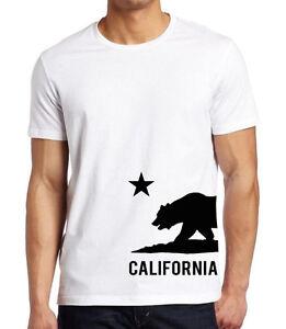 New Men/'s California Republic Side Circle V-Neck Black Tee Shirt Cali West Coast
