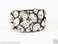 Kenneth Jay Lane Gunmetal Crystal Fancy Cuff Bracelet