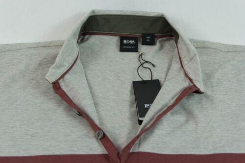 Hugo Boss Green-lentella à col marron gris-T-shirt sz L Bnwt 100/% Authentique