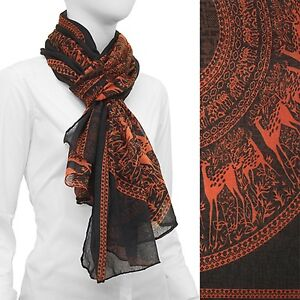 Animal-Print-Scarf-Lightweight-Dark-Gray-Wrap-Fashion-Accessory-42-x-68-inches