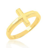Solid 10k Yellow Gold High Polish Band Milgrain Sideways Cross Ring Made In Usa