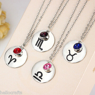 HC Fashion Women 12 Constellations Birthstones Crystal Pendant Necklace