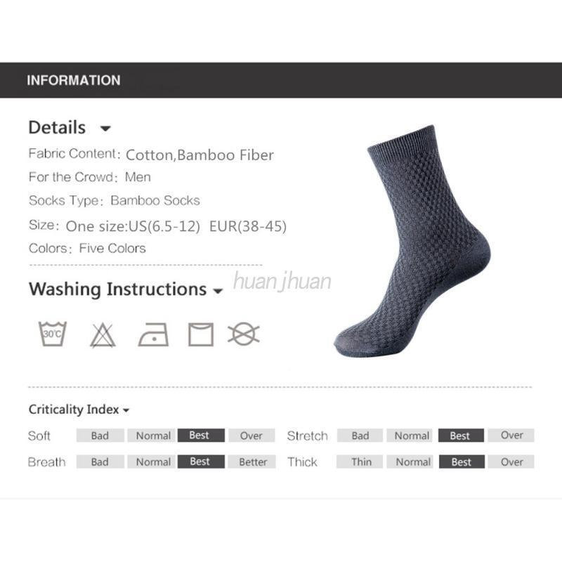 Mens Casual Bamboo Fiber Stockings Socks Business Toe Boot Cotton Work Socks