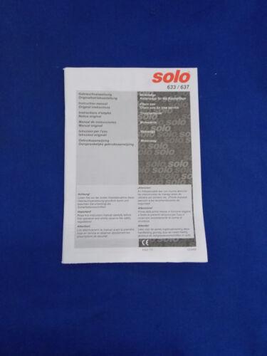 Auflage 2009 für Solo 633 637 Original Bedienungsanleitung