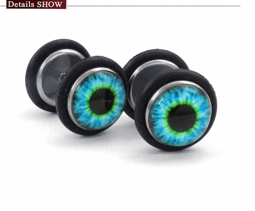 Stainless Steel Black Basic Blue Eyes Style Cool Men And Women S Stud Earrings Ebay