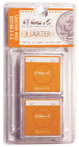HE-Harris-Snaplocks-2x2-Deluxe-Coin-Holders-Quarter-Size-Safe-Storage-Pack-of-6