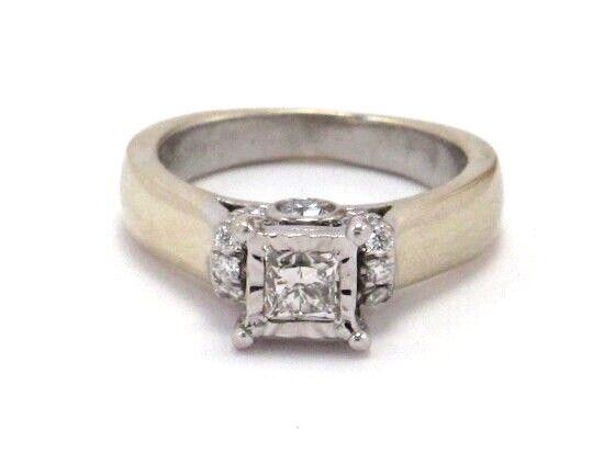 14k White gold Princess and Round Diamond Engagement Ring 1.12ct 6.2g