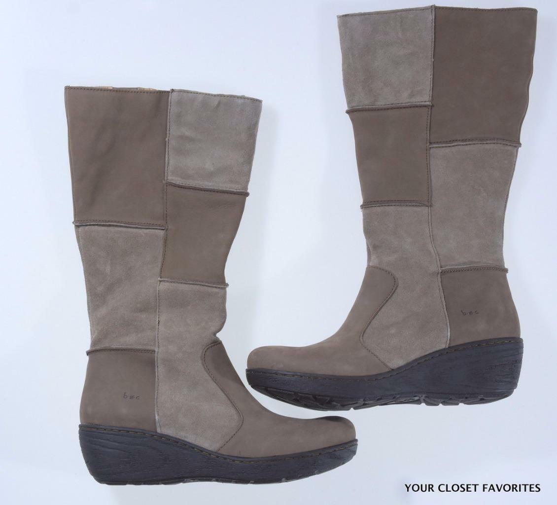 B.o.c Nix Patchwork Suede Leather Boots size 6.5 Mid Calf Wedge Tan