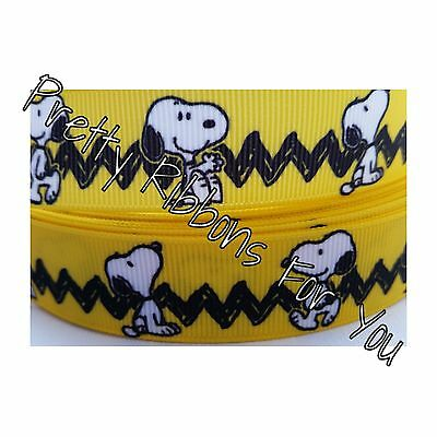 "Snoopy  1/"" wide high quality grosgrain ribbon 5 yards listing"