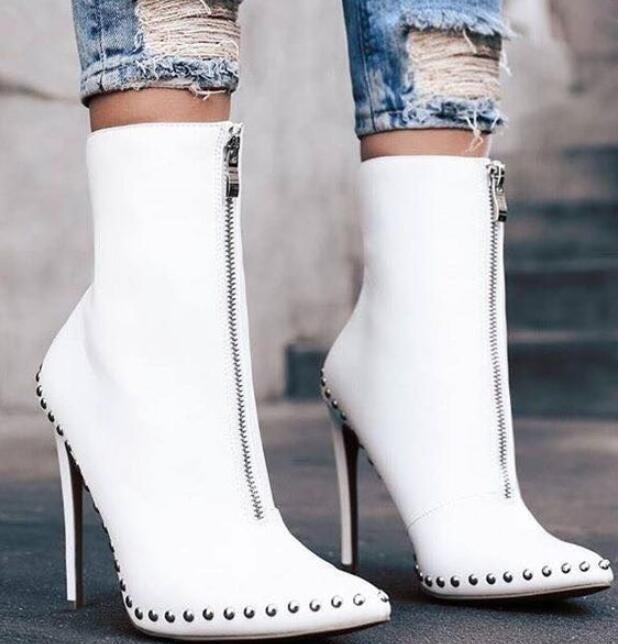 Womens Stilettos High Heels Punk Rivets Pointed Toe Warm Ankle Boots Pumps U736
