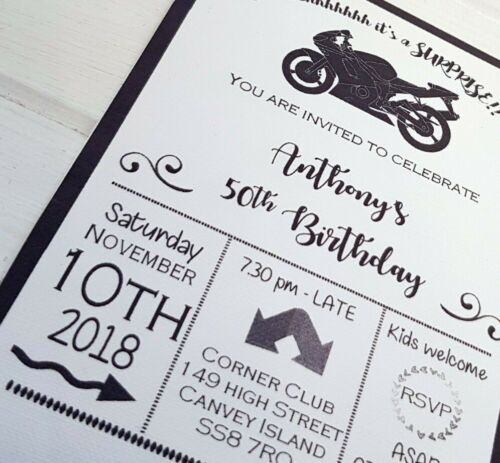 MOTORBIKE THEMED SURPRISE PARTY BIRTHDAY INVITATIONS BLACK AND WHITE DESIGN 10