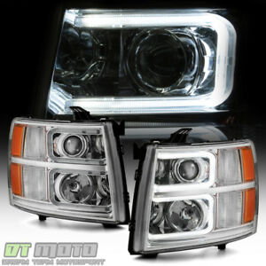 Details About 2007 2013 Chevy Silverado 1500 2500hd 3500hd C Tube Led Projector Headlights
