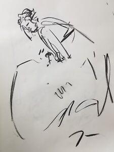 "JOSE TRUJILLO - Original Charcoal on Paper Sketch Drawing 18X24"" Dress Model COA"