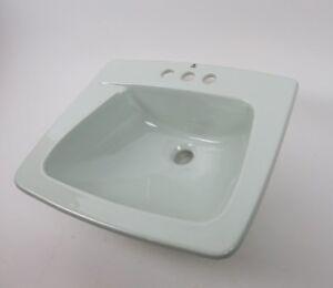 Image Is Loading Vintage Bathroom Sink Sage Light Blue 19x16 034