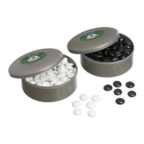 Set schwarz und weiß Go-Spielsteine aus Glas