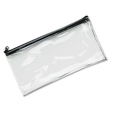 MMF Industries Leatherette Zippered Deposit Bag, Wallet, Coin Purse, Clear Vinyl