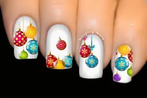 Rainbow-Baubles-Christmas-Nail-Decal-Xmas-Water-Transfer-Sticker-Tattoo