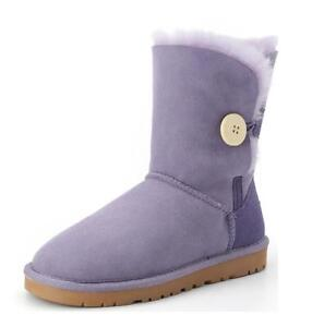 Winter-Womens-girls-Fur-Lined-Snow-Boots-Suede-boots-Leather-boots-warm-Shoes