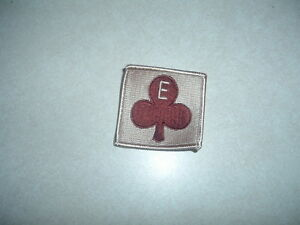 MILITARY PATCH US ARMY DESERT COLORED TAN SQUARE WITH SPADE AND E IN MIDDLE NEW