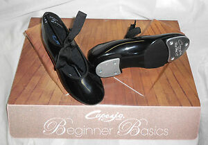 NEW/BOX CAPEZIO TAP SHOES BLACK PATENT JR TYETTE ADULT SIZES Style# N625