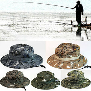 Men Sun Hat Military Combat Camo Boonie Bucket Bush Cap Hiking Fishing Hunting