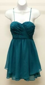 NWT-99-Hailey-Logan-by-Adrianna-Papell-Blue-Solid-Chiffon-Cocktail-Dress-Sz-7-8