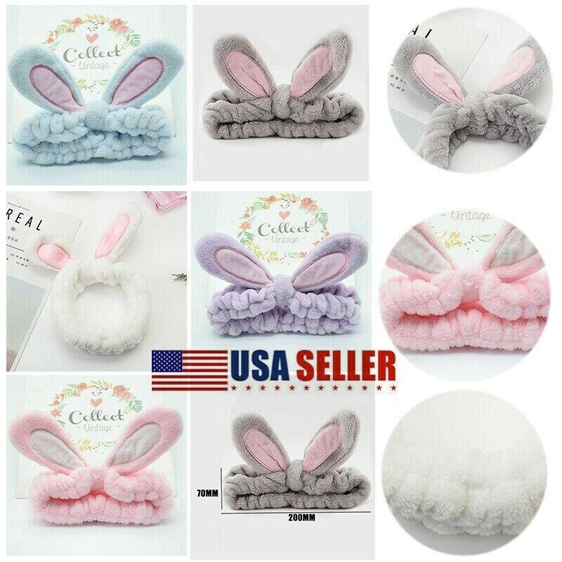 Hair Headband Cute Bunny Ear Makeup Face Washing Bath Spa Soft Elastic